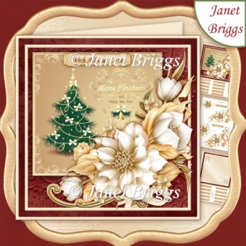 FESTIVE TREE & CHRISTMAS FLORALS 8x8 Decoupage & Insert Kit