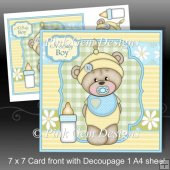New Baby Barclay Teddy Bear 7x7 Card Front with Decoupage