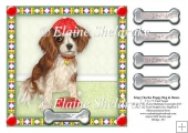 "King Charles Spaniel Puppy Dog & Bones - 7.5"" x 7.5"" Card Topper"