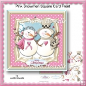 Pink Snowmen Square Card Front