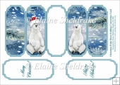 Christmas Polar Bears - Slim Five Fold Concertina Card