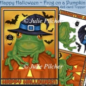 Happy Halloween ~ Frog on a Pumpkin in Witches Hat~ Card Front