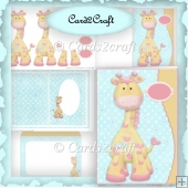 Cute giraffe wavy edge card set