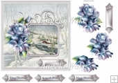 winter rose 7.5x7.5 card with decoupage