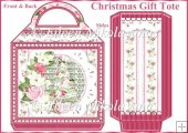 Shabby Christmas Roses Large Handled Tote Gift Bag