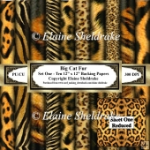 Big Cat Fur - Ten 12 x 12 Printable Backing Paper Set One