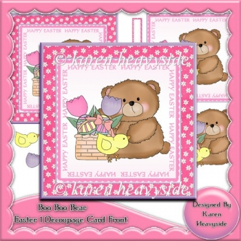 Boo Boo Bear Easter 1 Decoupage Card Front