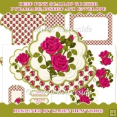 Deep Pink Roses Scallop Rocker Card
