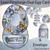 Porcelain Rose Easel Pyramage Oval Egg Shaped Card