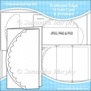 scalloped edge tri fold card envelope template commercial use instant card making. Black Bedroom Furniture Sets. Home Design Ideas