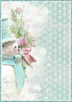 Shabby Sweet Snowman Backing Background Paper