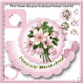 Pink Flower Bouquet Scalloped Rocker Card Kit