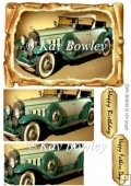 Green Vintage Car in old scroll frame pyramids