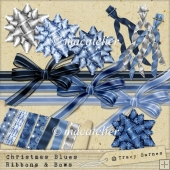 Christmas Blues Ribbons and Bows