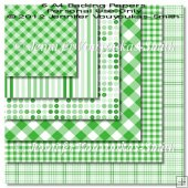 6 A4 Backing Papers-Green Plaids, Dots & Stripes
