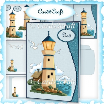 Wavy edge lighthouse card set