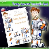 Fairydoodler's Sammy Spaceman Decoupage Sheet