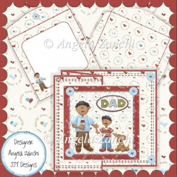 Boy and His Dad Ethnic 6x6 Foldback Card
