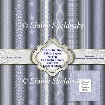 Mens Blue Grey Faux Fabric Assorted 8x8 Backing Paper Set Three