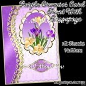 Purple Crocuses Card Front with Decoupage Layers