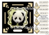 Black+Gold Chinese Giant Panda 7.5 x 7.5 Card Topper & Decoupage