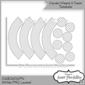 CU4CU Cupcake Wrapper & Topper Template 300dpi Printable
