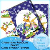 Christmas Penquin Family Front/Topper