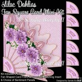 Lilac Dahlias Fan Square Card Mini Kit