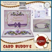 Pretty Purple Pansies 5x7 Easel Card Kit