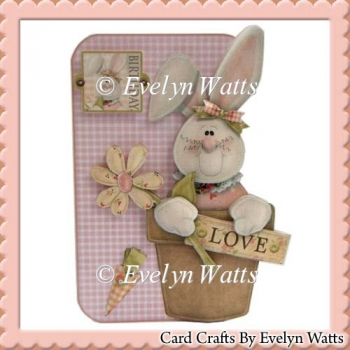 Bunny Shaped Fold Card With Assorted Greetings Tags