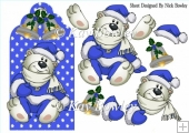 Cute polar bear on blue snowflake tag