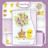Wavy edge Easter chick card set