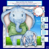 Papa And Baby Boy Elephant Over The Edge Card Kit With Insert
