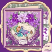 Snow Angel & Poinsettia Christmas 7.5 Decoupage Kit