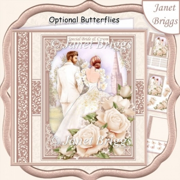 WEDDING DAY BRIDE & GROOM Ivory 7.5 Decoupage & Insert Mini Kit