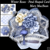 Winter Roses - Petal Shaped Card