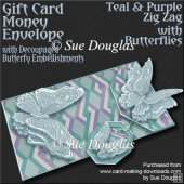 Teal and Purple Zig Zag with Butterflies Card/Money Envelope Kit