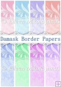 Set of 8 Damask Border Backing Background Papers