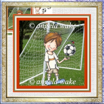 A Game of football 7x7 card with decoupage and sentiment tags
