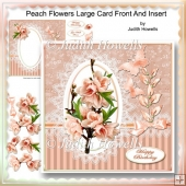 Peach Flowers Large Card Front And Insert