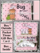 Cute Flu Bug Pocket Tissue Card Box Set with Directions