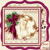 Holly Ribbon Plum & Snowman 8x8 Christmas Decoupage & Insert Kit
