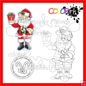 Santa With Gift and Sentiment Digital Stamp