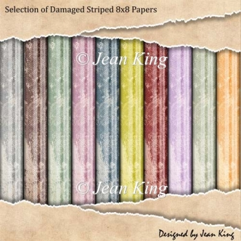 Selection of Damaged Striped 8x8 Papers