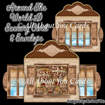Around The World 3D Scenery Card & Envelope