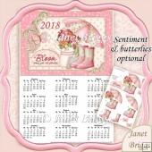 LADY GARDENER 2018 A4 UK Calendar with Decoupage Kit