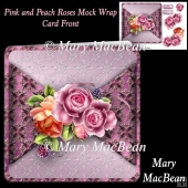 Pink and Peach Roses Mock Wrap Card Front