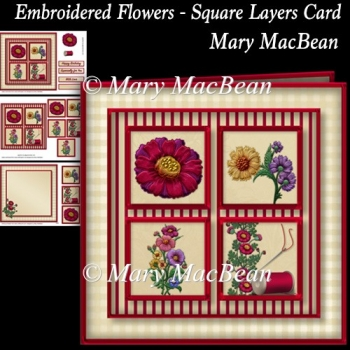 Embroidered Flowers - Square Layers Card