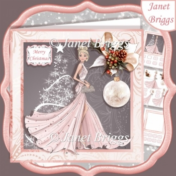 CHRISTMAS LADY IN PALE PINK EVENING DRESS 7.5 Decoupage & Insert