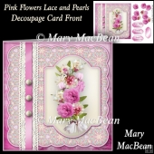 Pink Flowers Lace and Pearls Decoupage Card Front